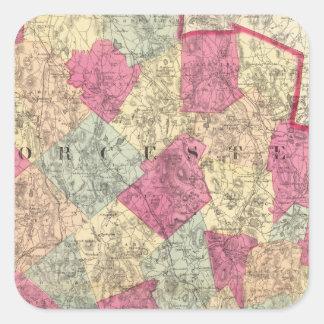 El condado de Worcester Pegatina Cuadrada