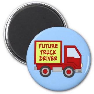 El conductor de camión futuro embroma la camiseta imán redondo 5 cm