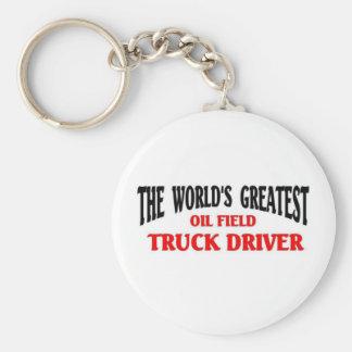 El conductor de camión más grande del campo petrol llavero redondo tipo pin