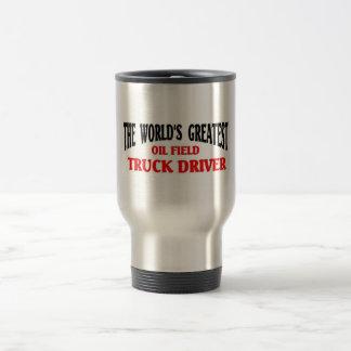 El conductor de camión más grande del campo petrol tazas de café
