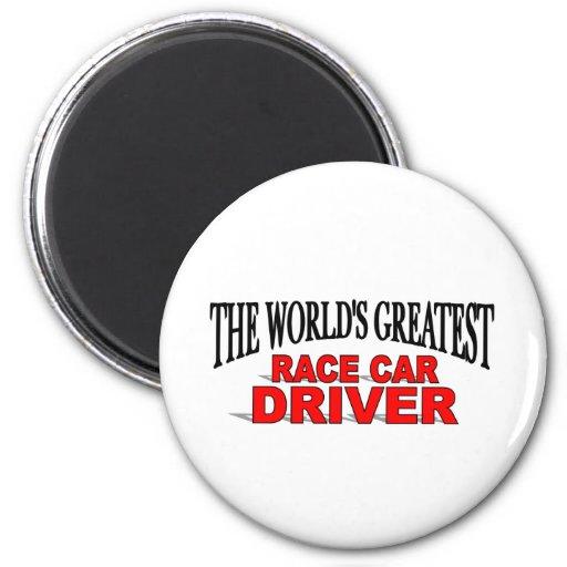 El conductor del coche de carreras más grande del  imán de nevera