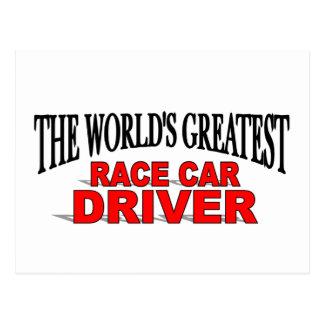 El conductor del coche de carreras más grande del tarjetas postales