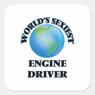 El conductor del motor más atractivo del mundo colcomanias cuadradas personalizadas