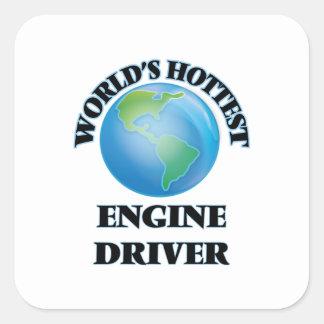 El conductor del motor más caliente del mundo calcomania cuadradas personalizada