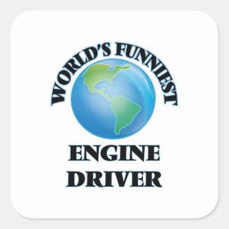 El conductor del motor más divertido del mundo colcomanias cuadradas personalizadas