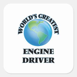 El conductor del motor más grande del mundo pegatinas cuadradases