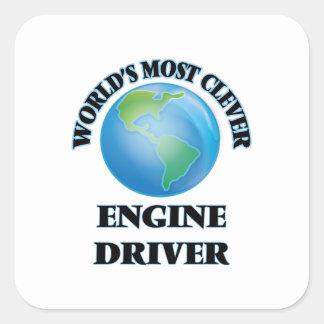 El conductor del motor más listo del mundo colcomanias cuadradas