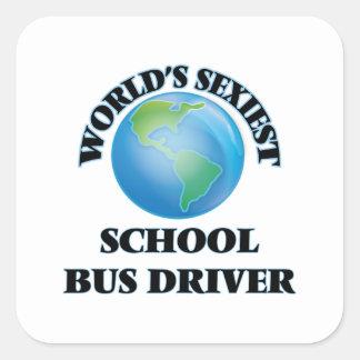 El conductor más atractivo del autobús escolar del calcomania cuadrada personalizada