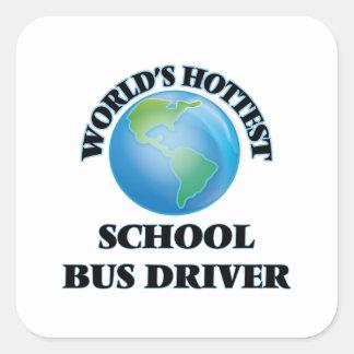 El conductor más caliente del autobús escolar del pegatinas cuadradas personalizadas
