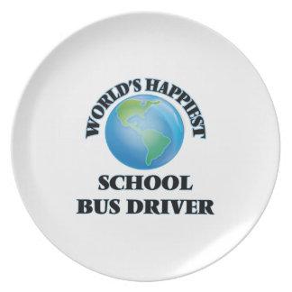 El conductor más feliz del autobús escolar del platos para fiestas