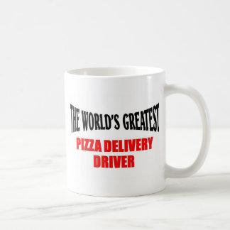 El conductor más grande de la entrega de la pizza taza