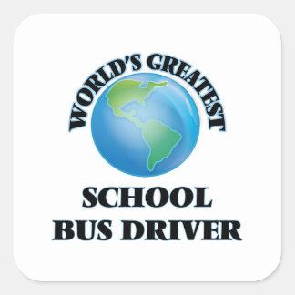 El conductor más grande del autobús escolar del calcomanías cuadradass personalizadas