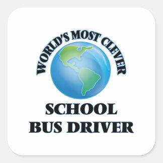 El conductor más listo del autobús escolar del calcomanía cuadradas