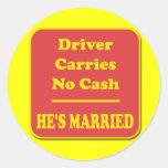 El conductor no lleva ningún efectivo pegatina redonda