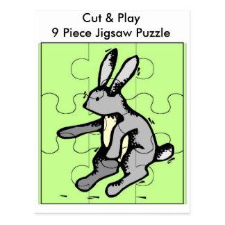 El conejito cortado y juega el rompecabezas de 9 tarjetas postales