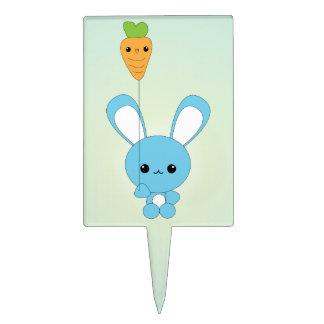El conejito de Kawaii y el globo azules de la zana Figuras Para Tartas