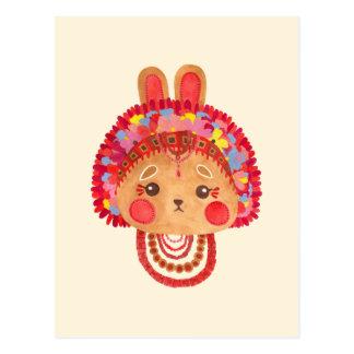 El conejito de la corona de la flor postales