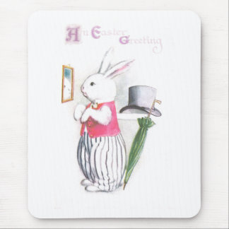 El conejito de pascua en chaleco rosado comprueba alfombrillas de ratón