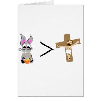 El conejito de pascua es mayor que Jesús Tarjeta De Felicitación