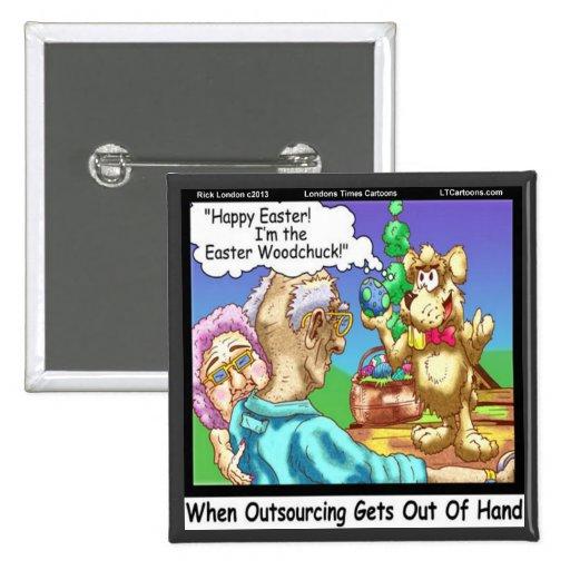 El conejito de pascua es una marmota divertida pin cuadrado