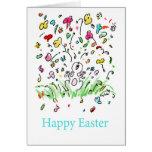 El conejito de pascua feliz florece el humor festi felicitaciones