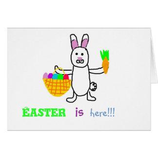 El conejito de pascua Pascua está aquí tarjeta de