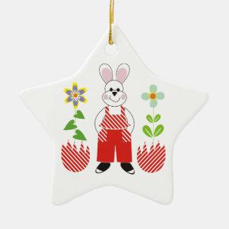 El conejito de pascua roto eggs el personalizado adorno navideño de cerámica en forma de estrella