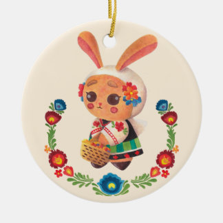 El conejito del polaco de la flor adorno navideño redondo de cerámica