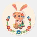 El conejito del polaco de la flor etiquetas redondas