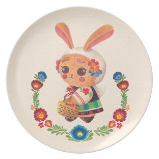 El conejito del polaco de la flor platos