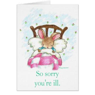el conejito en cama consigue la tarjeta bien