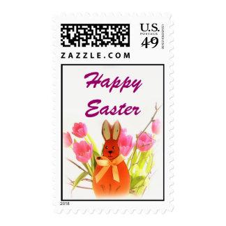 El conejito feliz de Pascua pascua florece sellos