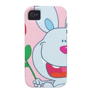 El conejito feliz sostiene la flor iPhone 4/4S fundas