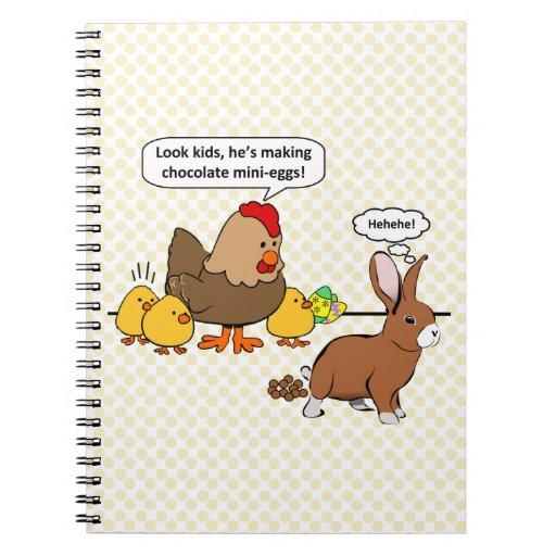 El conejito hace impulso del chocolate el dibujo a libro de apuntes con espiral