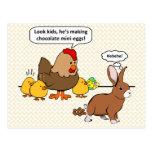 El conejito hace impulso del chocolate el dibujo a tarjetas postales