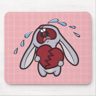 El conejito Hearted quebrado en rosa comprueba Mou Tapetes De Raton