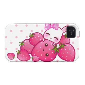 El conejito lindo ama la fresa del kawaii Case-Mate iPhone 4 carcasas