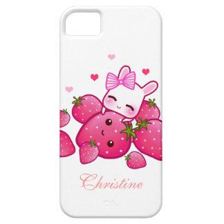 El conejito lindo ama la fresa del kawaii - iPhone 5 fundas