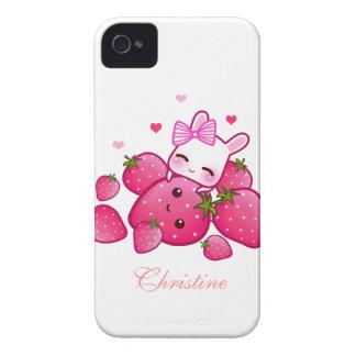 El conejito lindo ama las fresas del kawaii - iPhone 4 Case-Mate funda