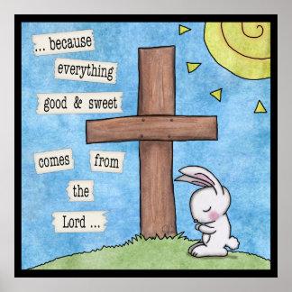 El conejito ruega en la cruz posters