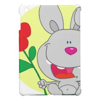 El conejito sospechado rosado feliz sostiene la fl iPad mini protector