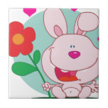 El conejito sostiene la flor azulejos ceramicos