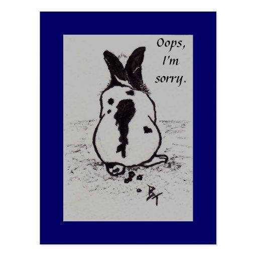 El conejito va Oops aceo que soy postal triste
