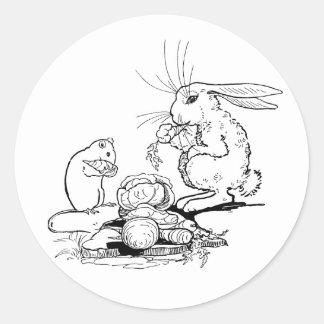 El conejito y el ratón comen los Veggies Pegatinas Redondas