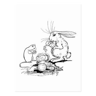 El conejito y el ratón comen los Veggies Tarjetas Postales