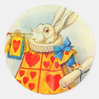 El conejo blanco a todo color pegatina redonda