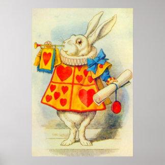 El conejo blanco a todo color póster