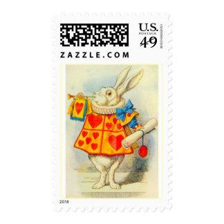 El conejo blanco a todo color sello