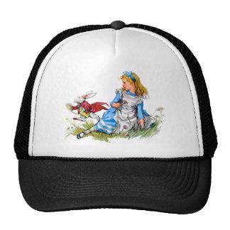 ¡El conejo blanco compite con por Alicia - él es Gorra
