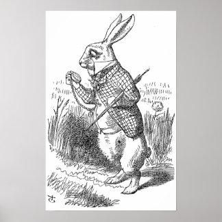 El conejo blanco comprueba su reloj impresiones